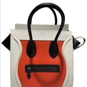 Céline Luggage Tricolor Runway Mini Vermillion